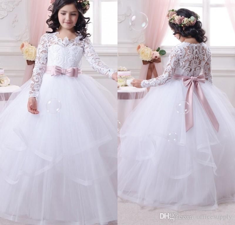 Long Sleeve First Communion Dress For Girls 2017 Lace Ball