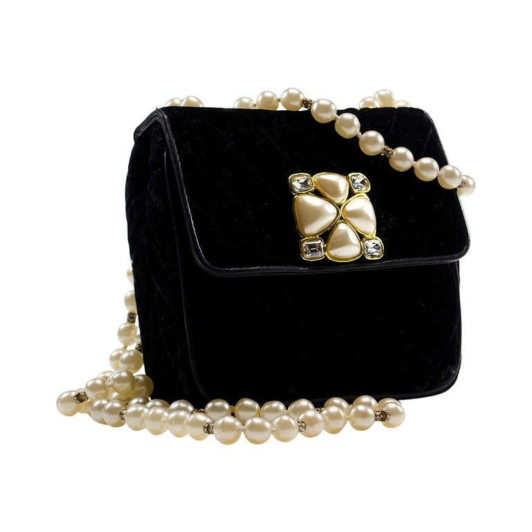 2c8e6d41177f Chanel Vintage Velvet Pearl Gripoix Crossbody Evening Bag ...Lovely Fabric  and Styling by Coco Chanel