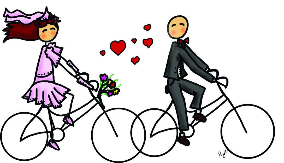 Bicicleta Amor E Casamento Desenho De Noivos Apenas Amigos