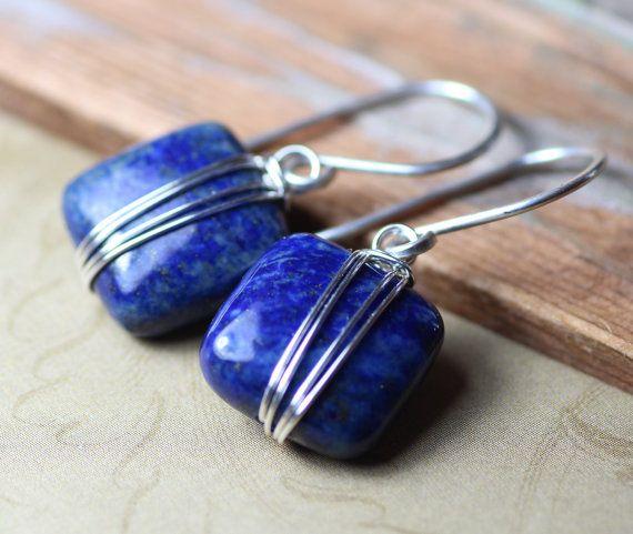 Lapis Earrings Silver Wire Wrapped Blue by TheTwistedPretzel, $28.00