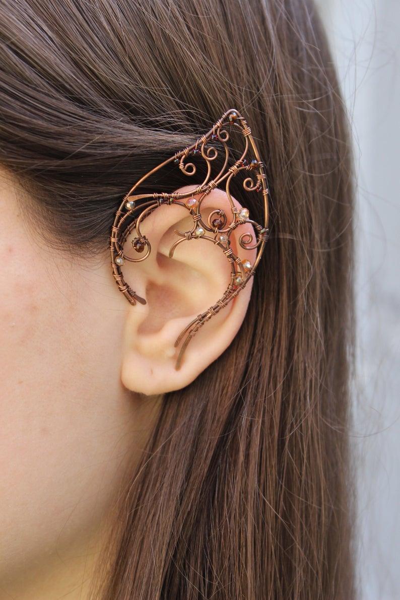 Elven Ear Cuffs Elf Ear Cuff Wraps Pair Or Single Bridal Ear Etsy In 2020 Ear Cuff Elf Ear Cuff Elven Jewelry