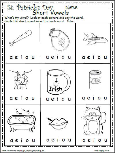Free Short Vowels Worksheet For Kindergarten