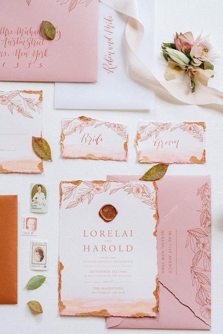 724fea9a5cbe peach and copper wedding invitations - http://ruffledblog.com/fall-
