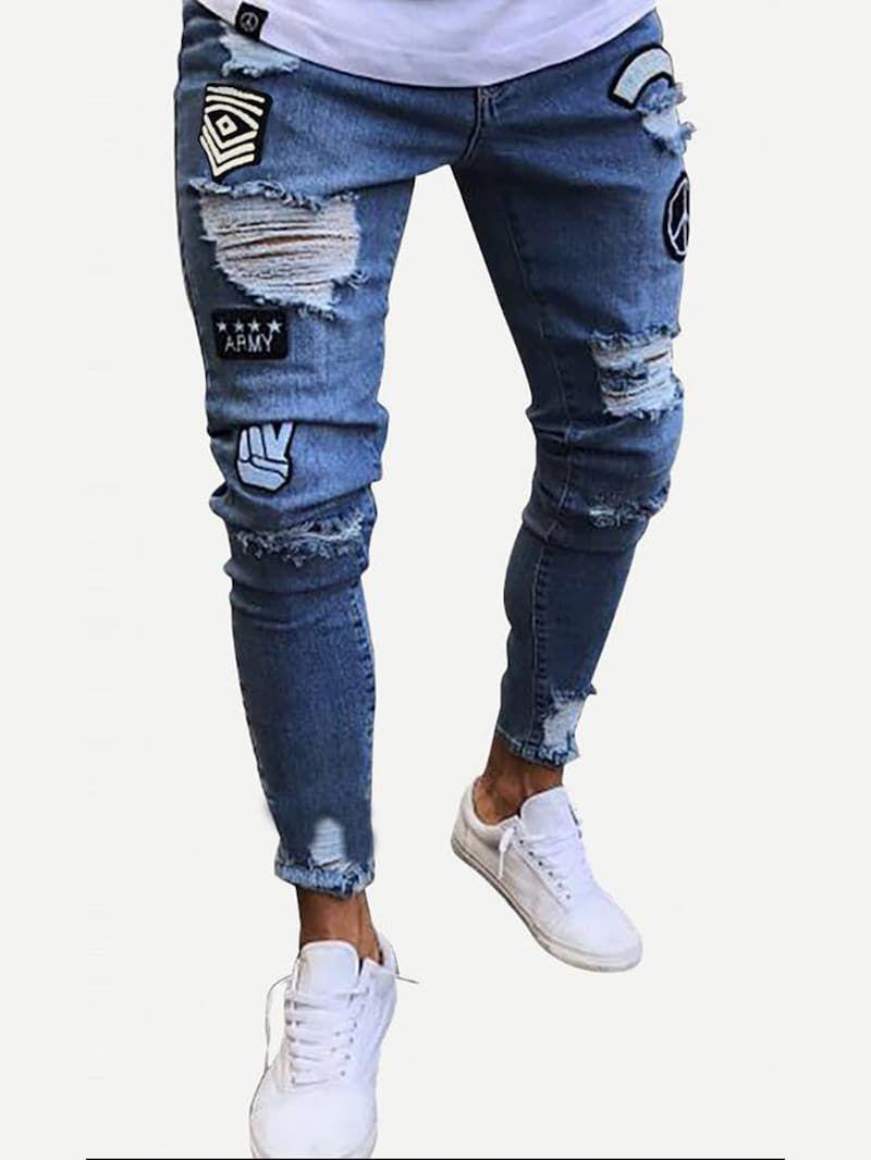 Pantalones Con Rotos Y Parches Pantalones Con Parches Pantalon Roto Hombre Ropa Casual Hombres