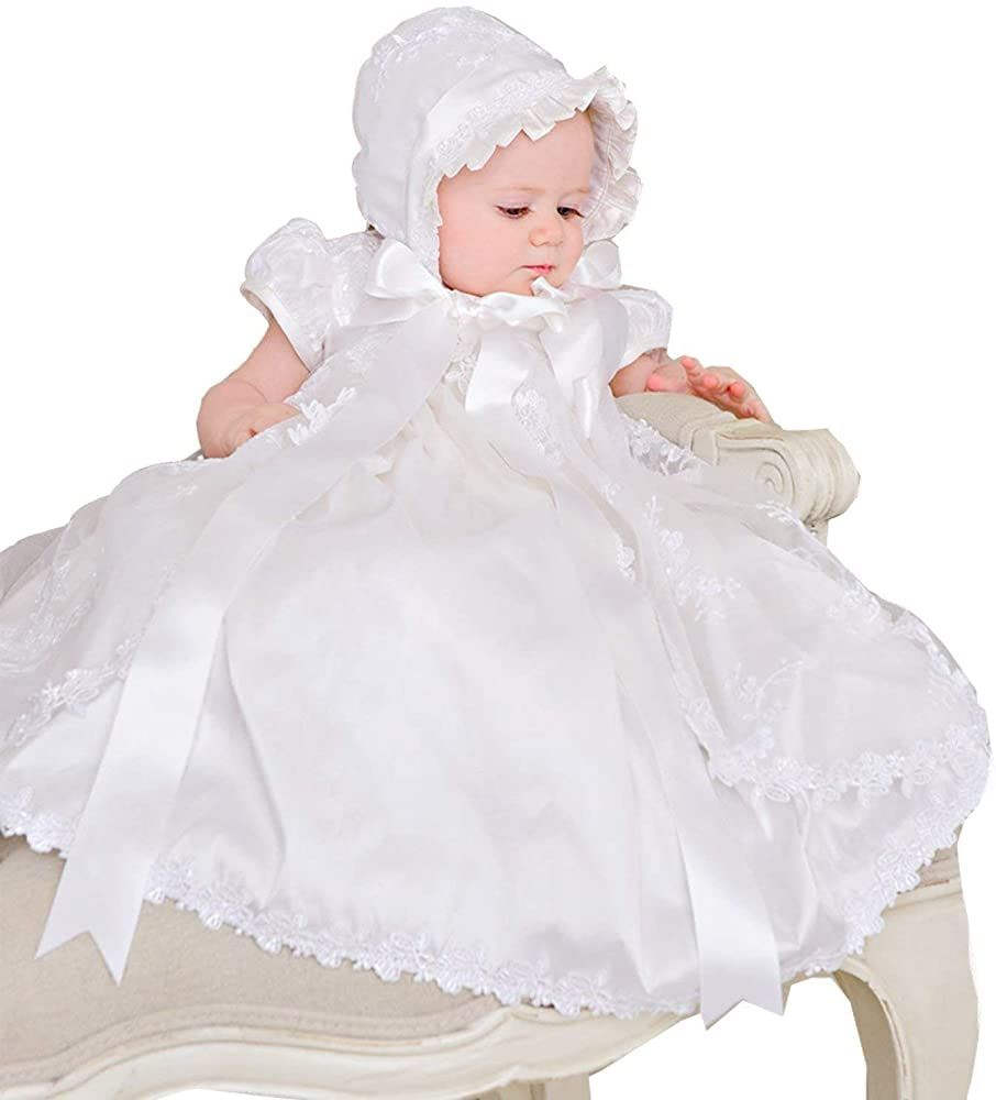 Aorme Baby-Girls Lace Infant Toddler White//Ivory Christening Gowns Long with Headband