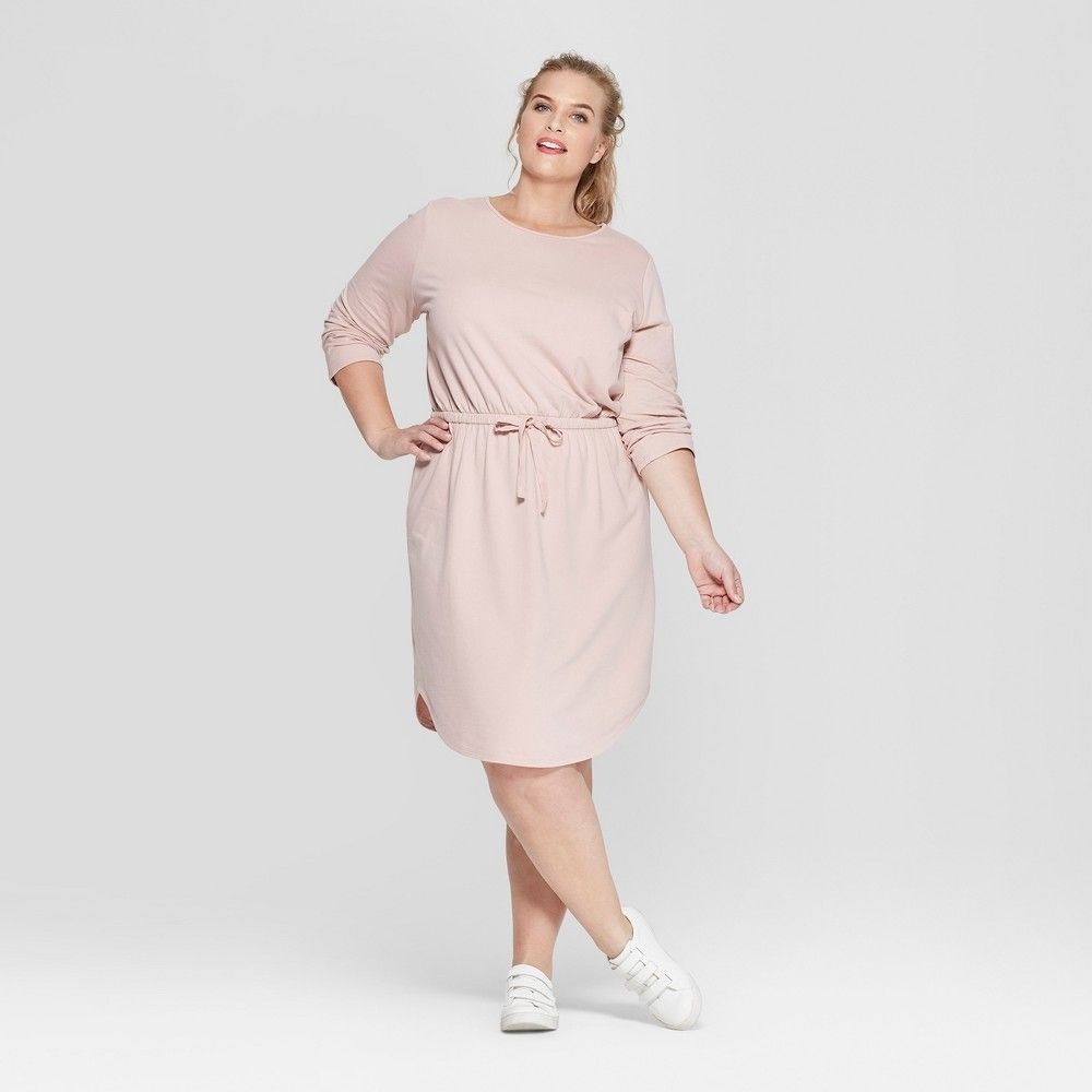 36e22fd9bf253 Go casual-cute with the Tie-Waist Knit Dress from Ava and Viv. This  long-sleeve knit dress is made from a comfortable breathable cotton blend  that provides ...