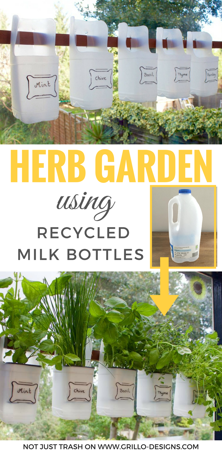 Indoor Bottle Herb Garden - From Recycled Milk Bottles | Plastic ...