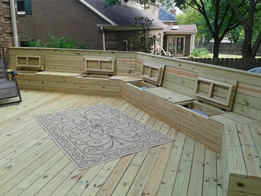 Deck plan with built in benches for seating and storage for Wood deck designs free