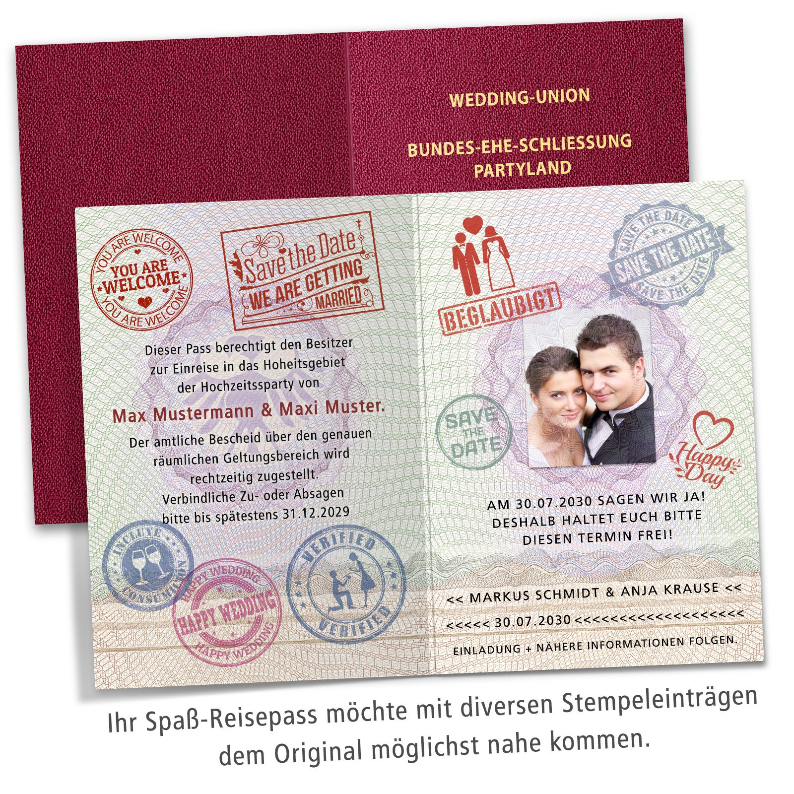 Save The Date Karte Als Reisepass Die Amtliche Legitimation Zum Aufenthalt Bei Ihrer Hochzeitsparty Mit Den Passenden Kontro Reisepass Karten Save The Date