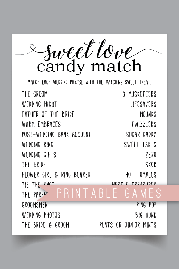 Sweet Love Candy Match Bridal Shower Game Bridal Shower