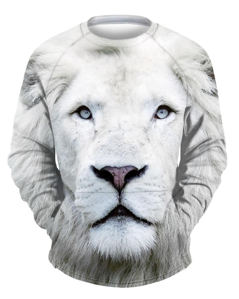 Soft Long Sleeve White Lion Face 3D Painted Hoodie