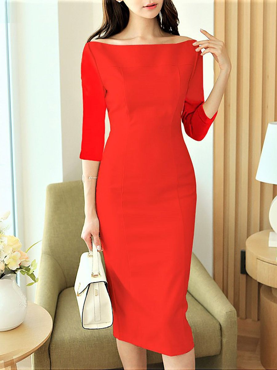 Stylewe Prom Dresses Party Dresses Cocktail Bodycon Bateau Boat Neck Work 3 4 Sleeve Dresses Midi Dress Bodycon Midi Dress With Sleeves Bodycon Dress Parties [ 1200 x 900 Pixel ]