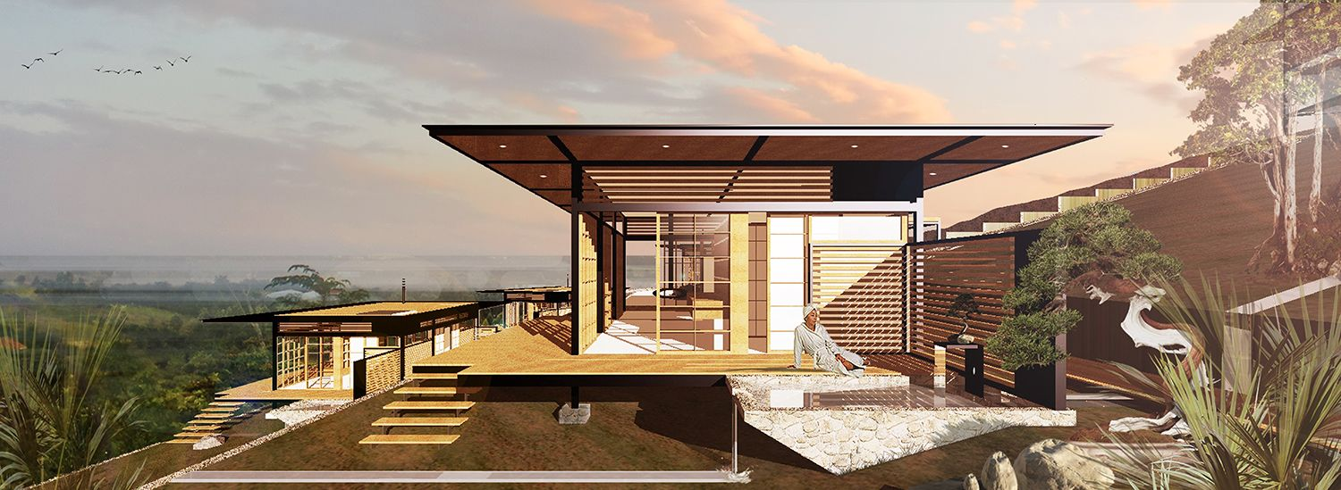 Bonsai retreat private client building in matasiakenya japanese influenced elements in the