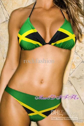 651045d3a0 Hot sexy new Caribbean Jamaica flag padded SWIMWEAR swimsuit bikini ...