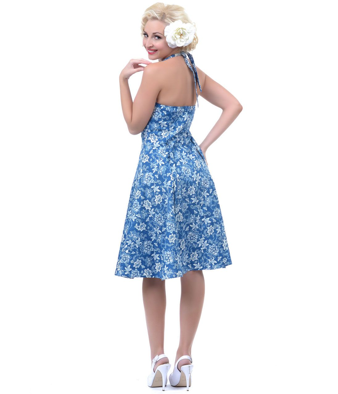 1950's Style Heartbreaker Blue Teresa Sweetie Dress - Unique Vintage - Prom dresses, retro dresses, retro swimsuits.