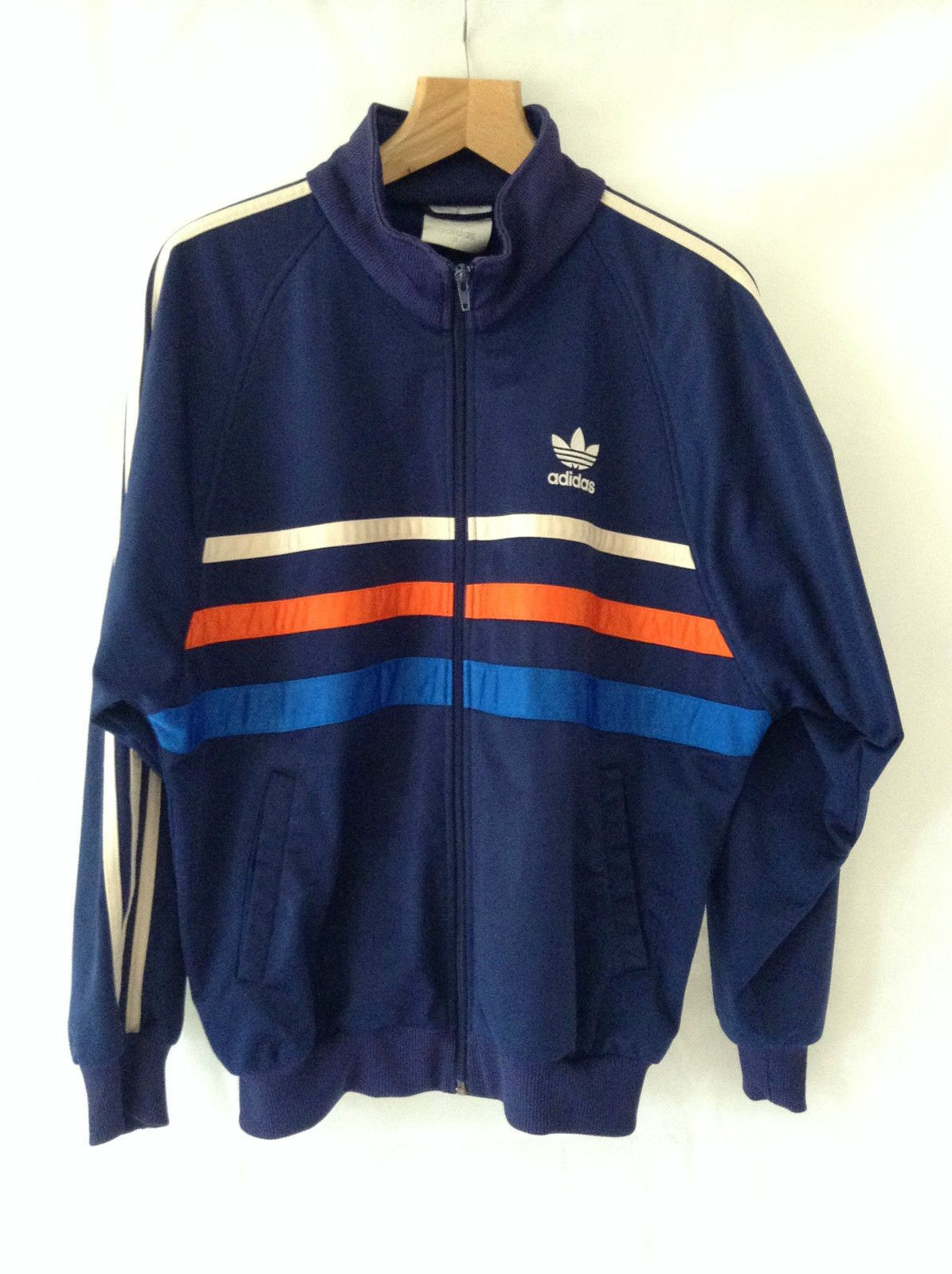 ed629ee01 ADIDAS VINTAGE 80S MENS OVERSIZED ZIPPER TRACKSUIT JACKET CHEST 42