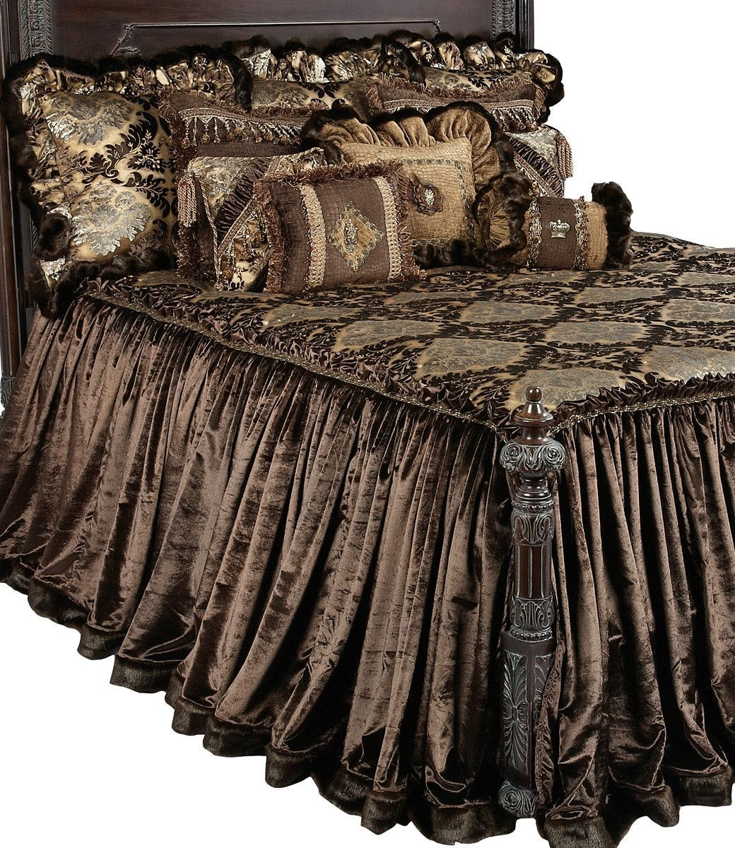 The Bristol Collection Combines Rich Chocolate Colors With Touches Of Gold And Crystal Making This Set Equally At Luxury Bedding Bed Linens Luxury Bed Design