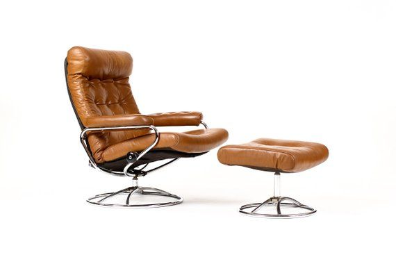 Danish Modern Mid Century Ekornes Lounge Chair Ottoman Brown