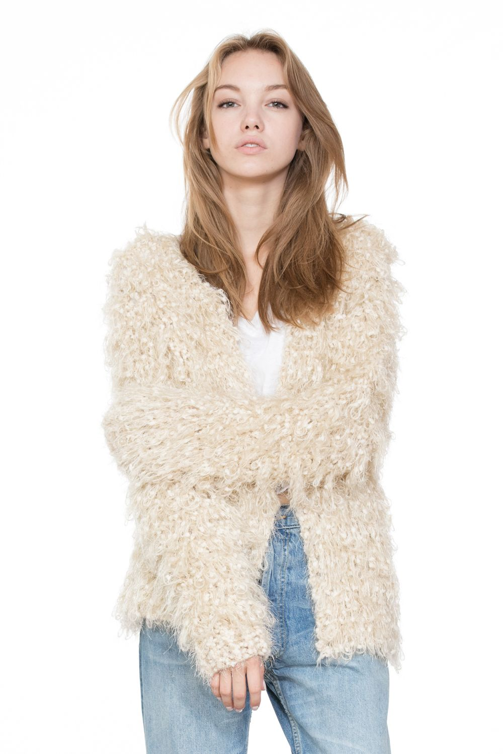 This Cream Fur Jacket looks amazing with any of your
