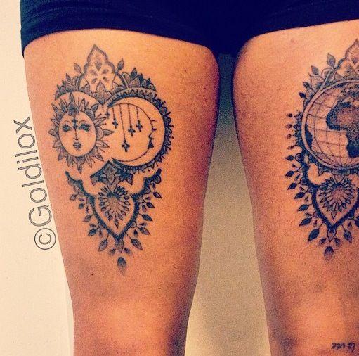 Sun And Moon Mandala Tattoo Indian Tattoo Framed Tattoo Tattoos