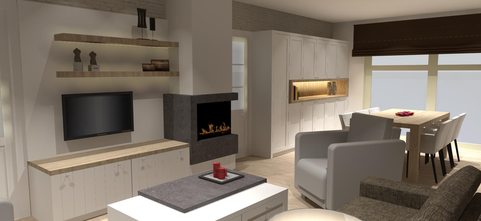 Haard tv meubel met grote bergkast strak landelijk i 39 am for Landelijke stijl interieur