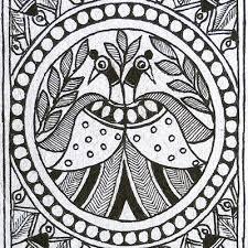 madhubani paintings in black and white  Black