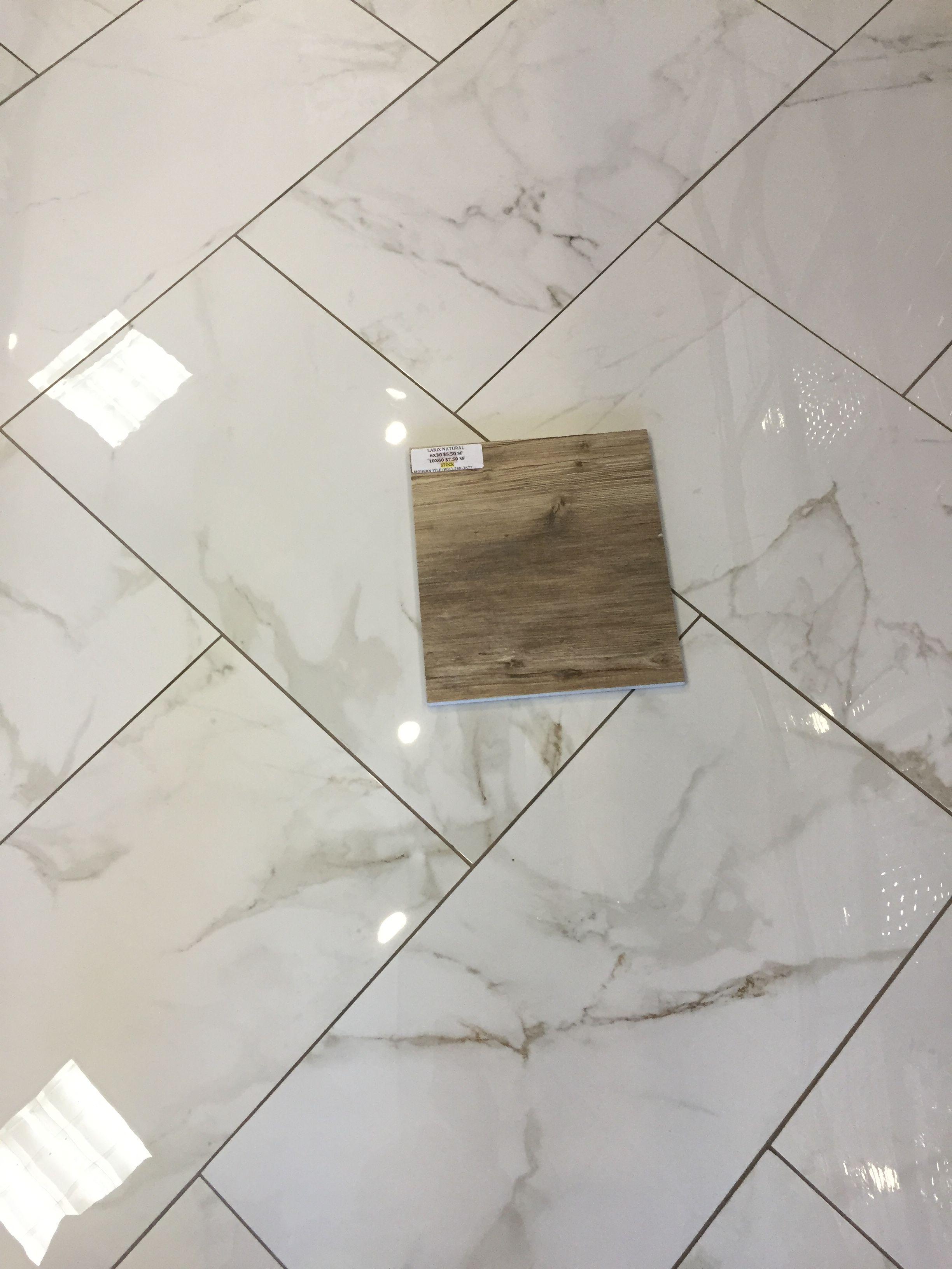 Larix Natural wood tile on Calcutta Matte Porcelain (12x24