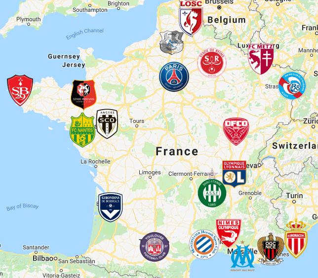 Ligue 1 Map in 2020 European soccer, Map, Football logo