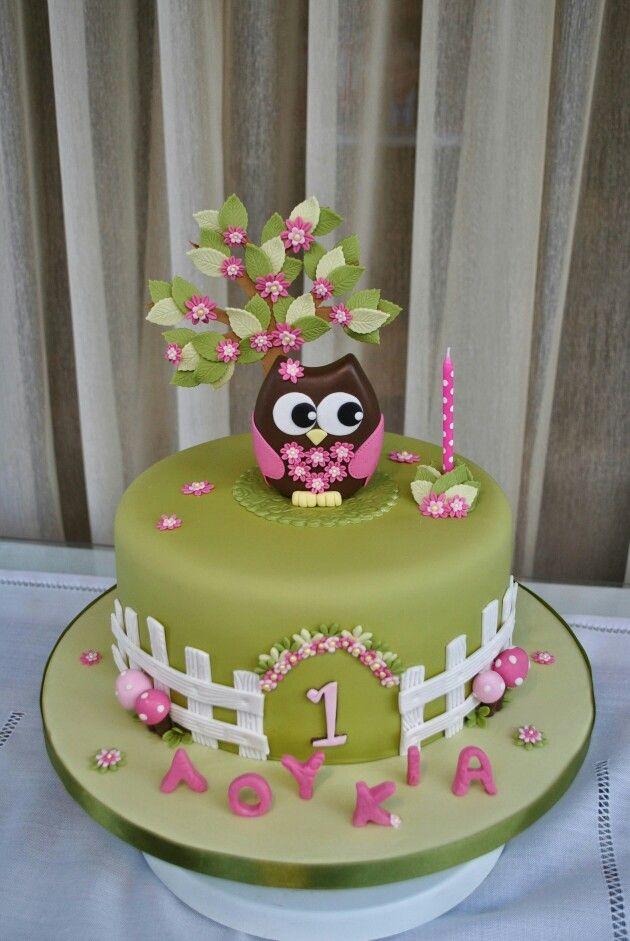 Cool First Birthday Owl Cake With Images Owl Cake Birthday Personalised Birthday Cards Akebfashionlily Jamesorg