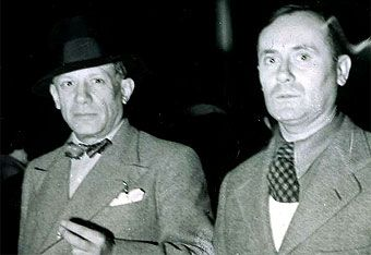 Spanish artists Pablo Picasso & Joan Miró in 1937 at the World Exhibition in Paris, exhibiting in the Pavilion of Spain.