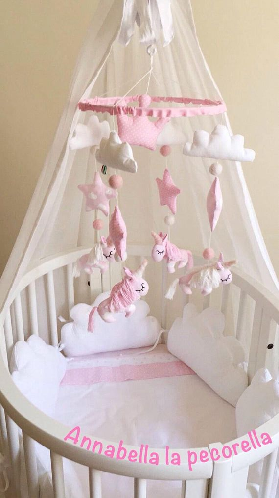 Personalized Unicorn Nursery Pink Crib Handing Mobile