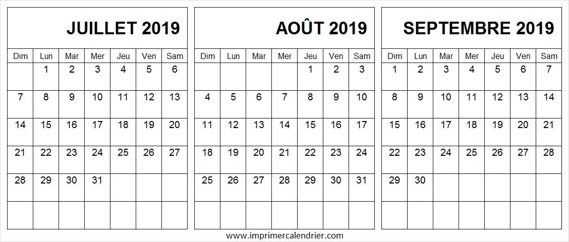 Calendrier Juillet Aout Septembre 2019 Excel Tableau