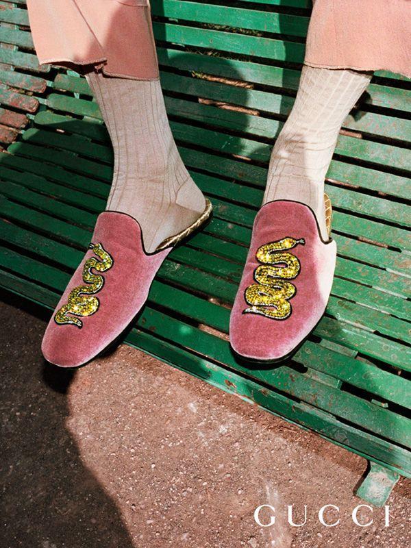 51c0c36baa3 A crystal embellished snake on velvet slippers