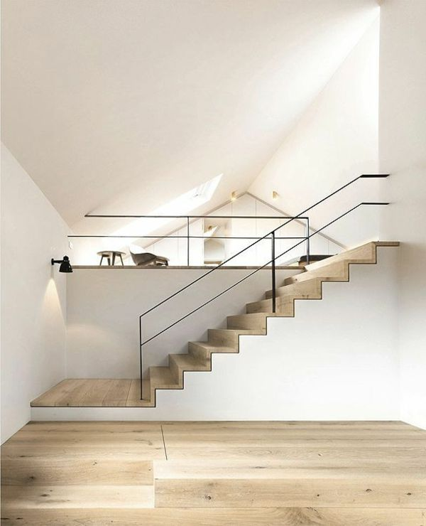Light Wood Zig Zag Stairs With Contemporary Metal Handrail