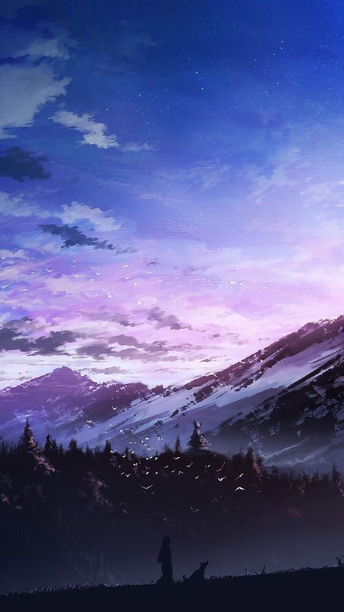 Grafika Anime Sunrise And Fantastic Landscape Pejzazhi