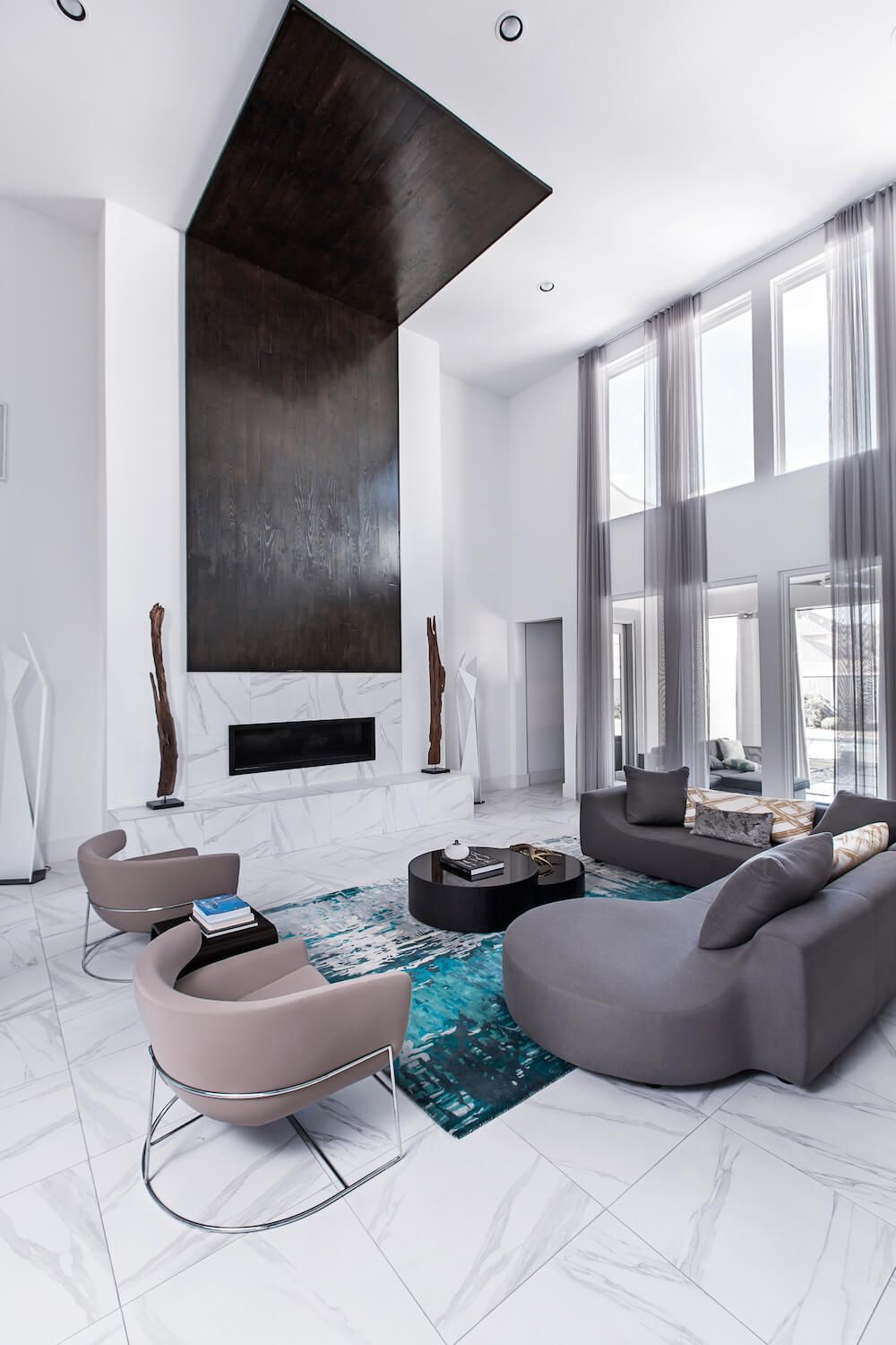 INTERIOR DESIGN PROJECTS| A modern residential project by Contour Interior design.the grey palette is used in every division  with pops of bright colors.|www.bocadolobo.com #interiordesignprojects #moderninteriors