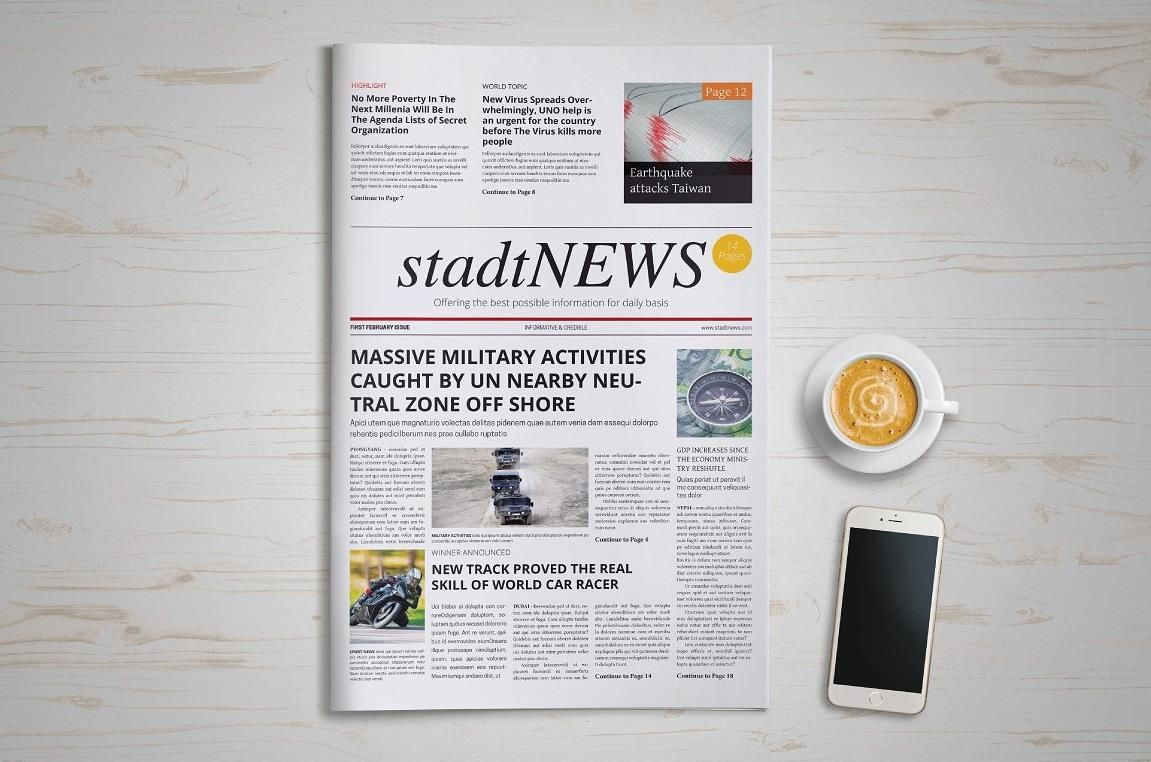 Printable Newspaper Front Page Template  PsdIndesignAi