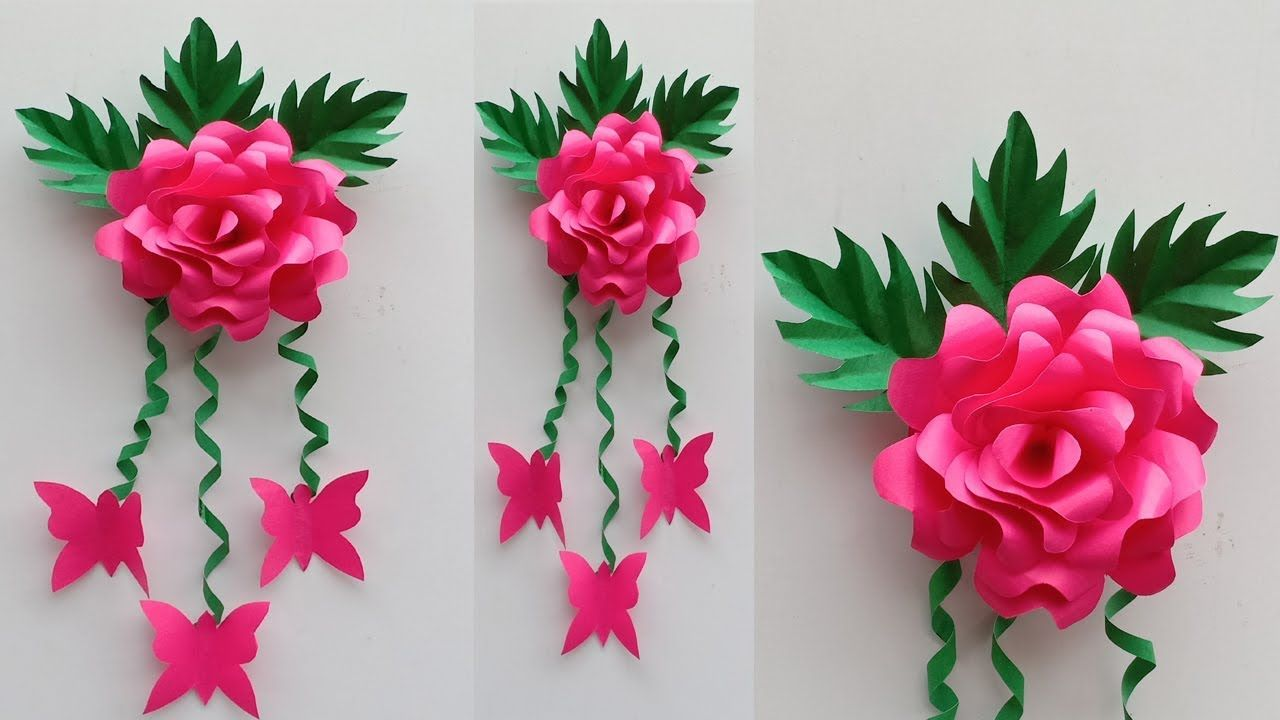 Paper Rose Wall Hanging Paper Flower Wall Hanging Paper Rose Wall Craft Hanging Paper Flowers Hanging Flower Wall Paper Flowers