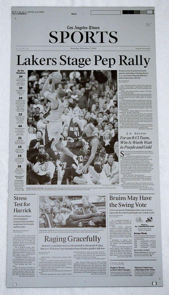 2002 Kobe Bryant La Times Los Angeles Lakers Printing Plate Los Angeles Lakers Lakers Los Angeles