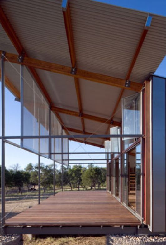Minimalist Transparent House With Perforated Metal Screen Freezer Panel Walkout By Shipley Architects With Images Terrace Design Porch Design Shade House