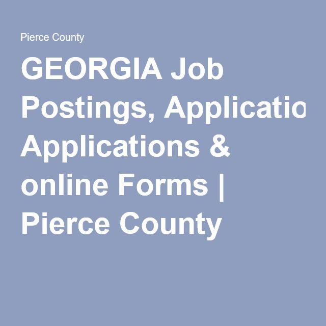Georgia Job Postings Applications Online Forms Pierce County
