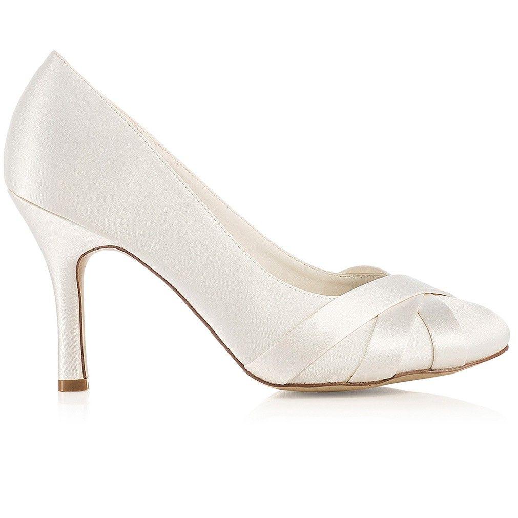 Chaussure mariage ivoire ou blanche en satin à bout rond talon 9 cm - Greta  - Westerleigh a477dcd5d38