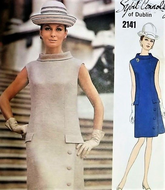 1960s ELEGANT Sybil Connolly Dress pattern VOGUE Couturier Design 2141 Lovely Day or After 5 Bust 34 Vintage Sewing Pattern UNCUT + Label