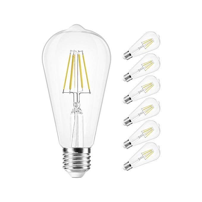 RockyRob Edison Bulb Dimmable LED Filament, 6W Vintage Edison Light