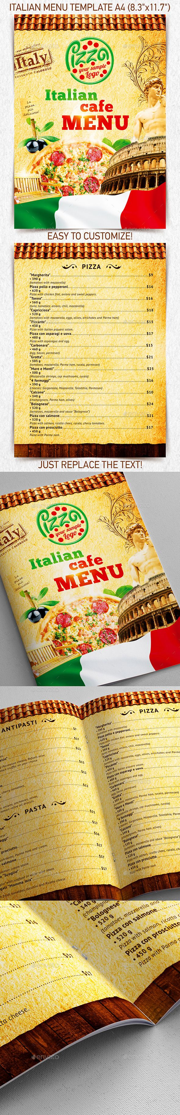 Italian Menu Template Vol  Menu Templates Food Menu And Menu