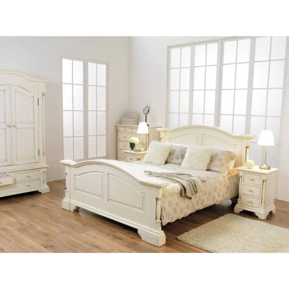 Super kingsize bed solid pine white finish wooden frame home bedroom furniture