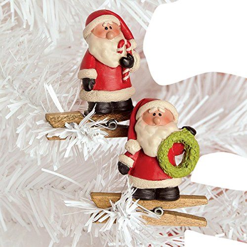 Set Of 2 Santa Claus With Candy Cane And Wreath Christmas Ornament Clips 2 Inch Christmas Ornaments Top Brands Artists Designer Names Christmas Ornaments Holiday Decor Christmas Christmas Wreaths