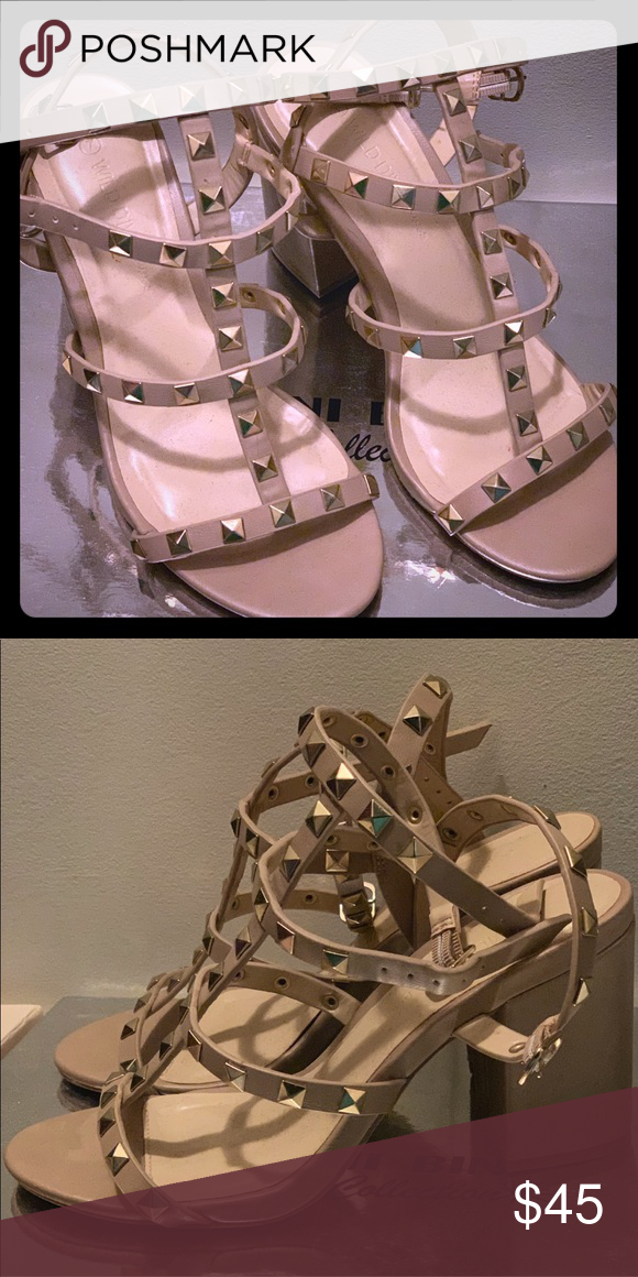 bc3db280e9d Strappy Studded Block Heel Sandal Beautiful nude studded strappy sandal! In great  condition
