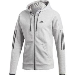 Adidas Herren Sweatjacke Sport Id Logo Fleece Full-Zip Hoodie French Terry, Größe S in Hellgrau Mela