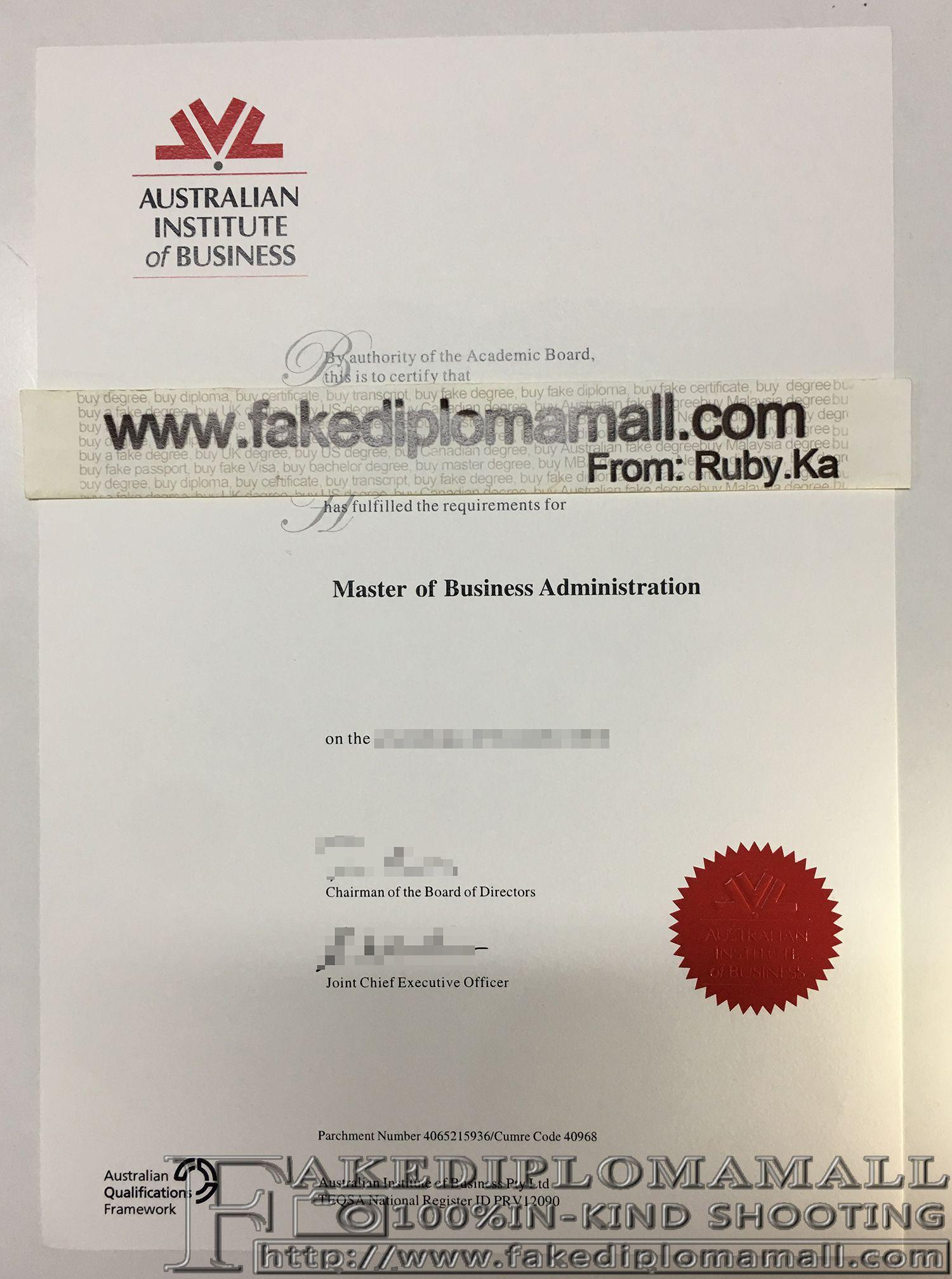 Australian Institute of Business MBA degree fake